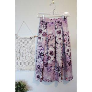 Boohoo Night lavender floral pleated formal skirt